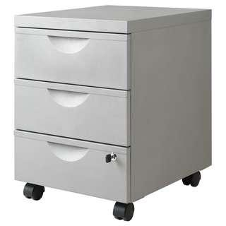 Metal office drawer unit with lock and wheels Ikea (grey)