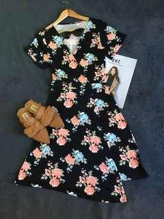 Floral Wrap-around Dress