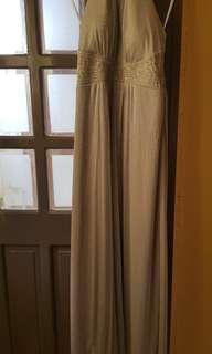Silver halter top evening gown/ prom dress