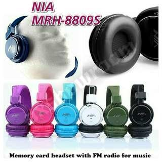 Superb Audiophile Grade Wireless Stereo FM / MICRO SD Card Direct Play / Line-in Headset: NIA MRH-8809S