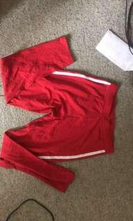 Gorgeous Red with white stripe 3/4 leggings pants small