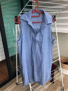 Stripe Tie Up Shirt Dress