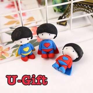 [STA]4 pieces 3D Superman Eraser/Children's Rewards/Goodie Bag Fillers