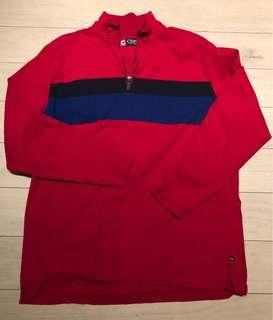 XL Chaps red half zip sweater