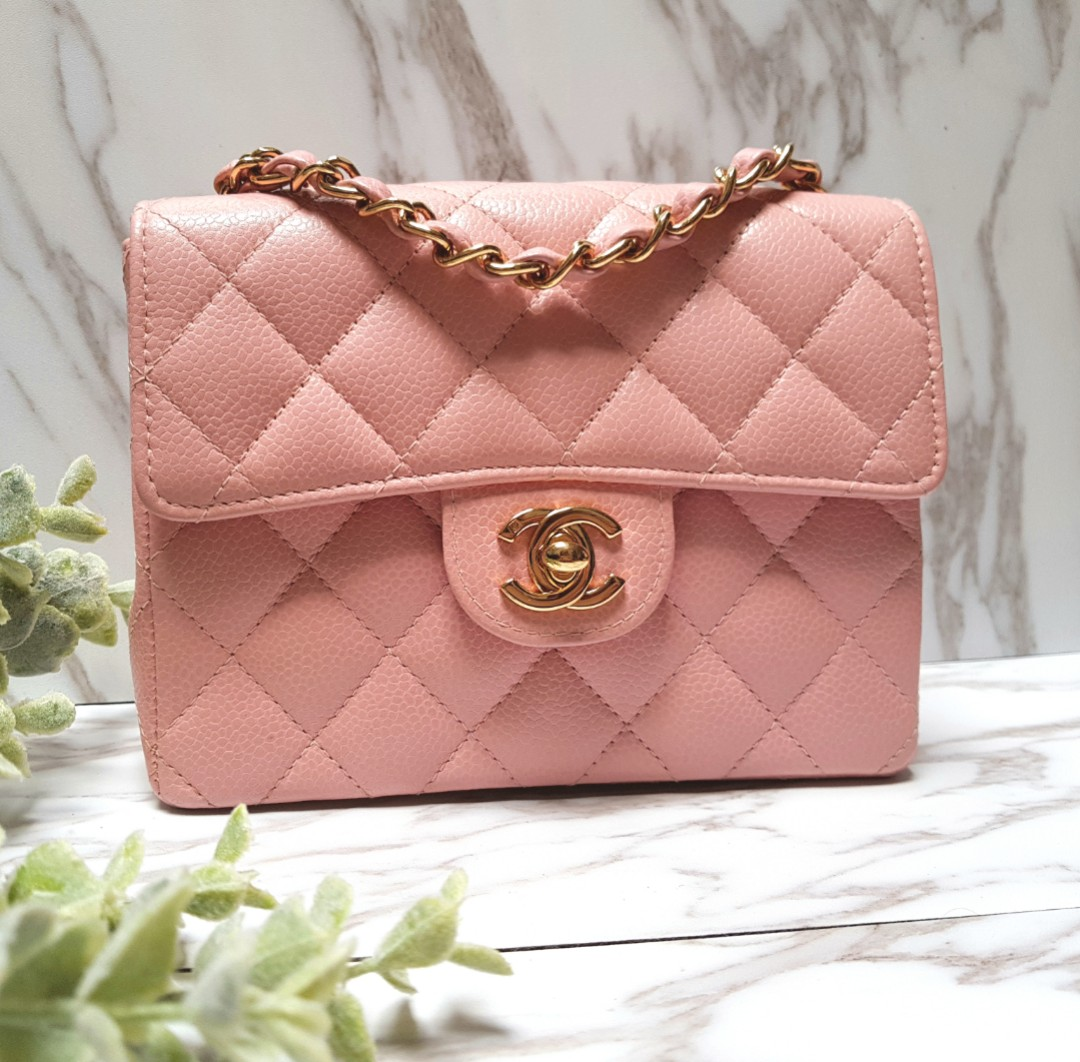 d76011f9708e 100% AUTH] Chanel Square Mini in PINK Caviar flap bag, Luxury, Bags ...