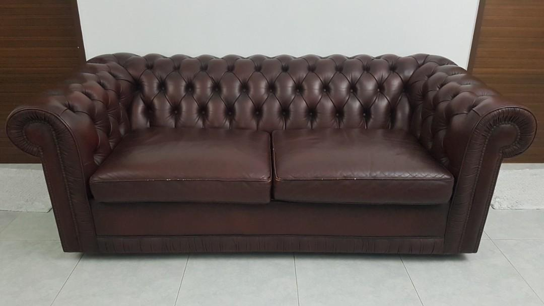 Genuine Leather Chesterfield Sofa Dark