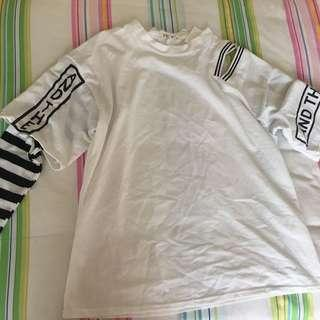 White t-shirt with striped sleeves