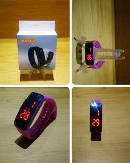 🚚 防水 鏡面LED手環錶 運動手錶 電子錶(粉紅)
