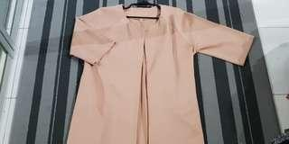 Lubna Beige Nude Kimono Blazer