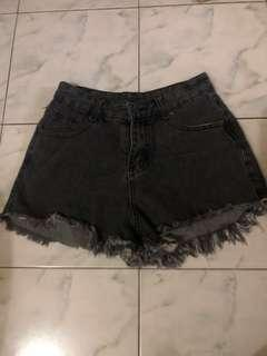 Black denim high waist shorts