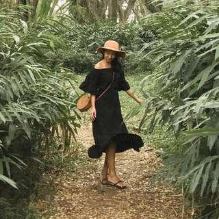 Black Sabrina Dress Summer Beach Dress