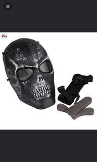 🚚 🆒🆕 NFLC Airsoft Mask Skull Full Protective Mask Military - Black ✔ Good Material. Can Be Reused ✔ Halloween 🎃 Party Mask ✔ Brand New