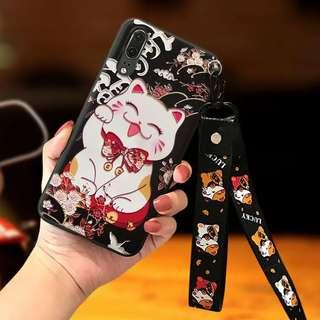 PO Huawei Fortune Cat Mobile Casing w Wrist/Neck Straps