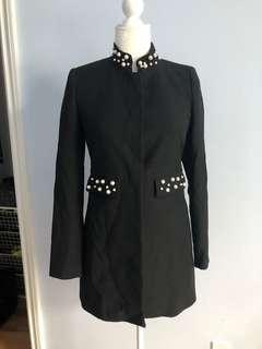 Zara black coat with faux pearl collar size small