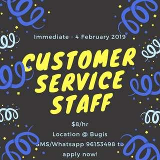 Looking for: Customer Service Staff @ Bugis || Immediate - 4 February 2019