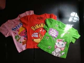 TAKE ALL 3PCS Atasan disney, oskhkosh, pinkfong