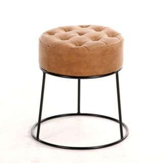 Chic Round Stool | Modern Faux Leather Stool | Instock