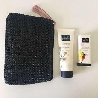 Rosehip oil, hand cream, pouch/clutch