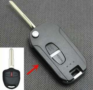 2 Button Remote Car Key Shell Cover Case For Mitsubishi  Modified Flip Folding Remote Right Blade With Logo