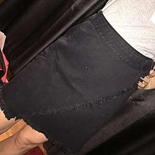 Showpo denim black wrap skirt