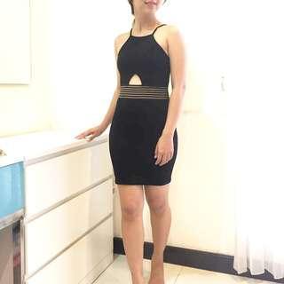 Miss Selfridge Petite Cut Out Black Dress Ribbed