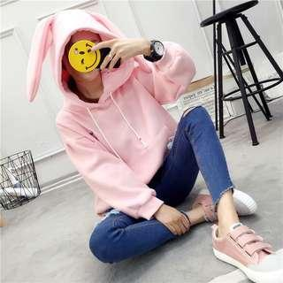[PO] Cute Bunny Hoodie Jacket Sweater Pullover with zip in Pink/Blue/White/Red rabbit ulzzang korean harajuku japanese