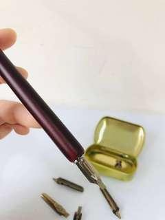 鋼筆 西洋書法筆 沾墨筆 再送一罐黑色墨水!