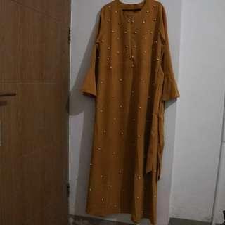 Dress Syar'i Pearl warna Mustard