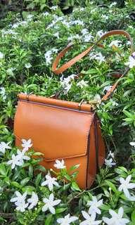 CHARLES & KEITH brown mini sling bag tas CK preloved murah