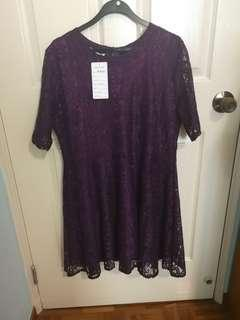 🚚 Royal Purple Lace Dress 4XL Brand new with Tag