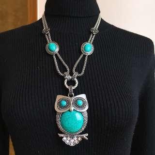 🚚 超級大貓頭鷹項鍊/土耳其石土耳其藍