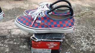 Vans authentic checkerboard red and blue