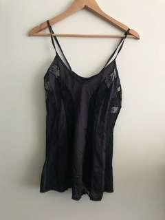 Kayser lace cami purple and black size 14
