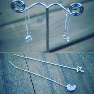 925 Sterling Silver Moon Stars Long Earrings, Free Postafe