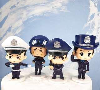 New policeman cops army soldier police officer cake topper decoration figurines toys