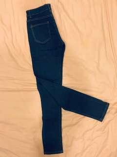 Women's Navy Blue Denim Long Pants. Skinny