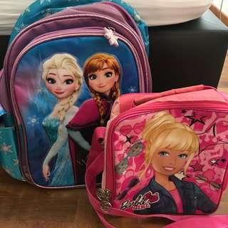 Frozen Backpack and Barbie Insulated Lunch Bag