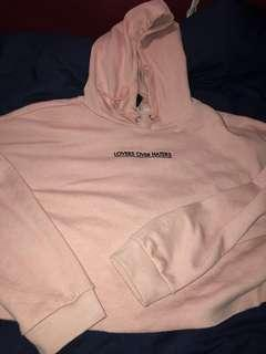 Pink crop hoodie slogan h and m size L