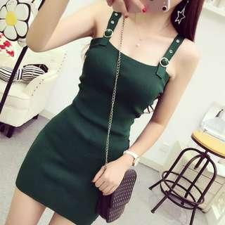 [PO] Simple Korean ulzzang strap dress in Black/Brown/Grey Gray/Green