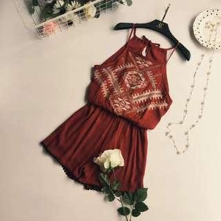 Red summer playsuit