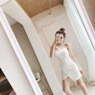 [PO] Single Strap dress in black white beige ulzzang korean