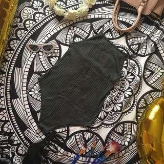 Gray knitted bodysuit