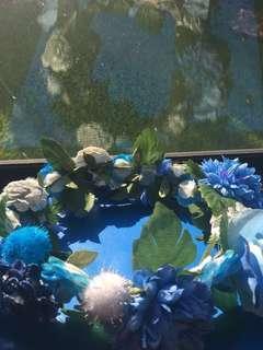 Blue flower head piece