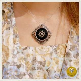 70年代黑瑪瑙黃鐵礦純銀頸鍊/胸針兩用