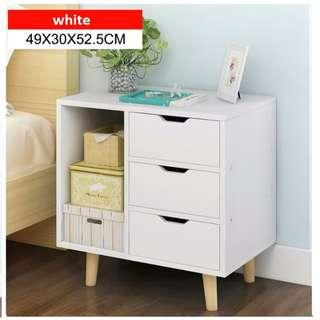 MSFE Solid Wood Quality 3 layers Drawer + Side Cupboard Bedside Table Nightstand