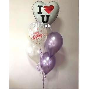 (2/1) Include helium I love you foil balloon  ( love / surprise / girlfriend/ Valentine/ wedding) - holographic