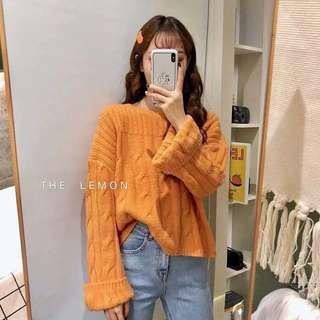 🚚 秋冬❄️轉售 超可愛亮橘🍊寬袖 麻花 針織上衣 毛衣 橘色 寬鬆