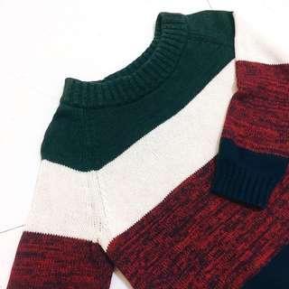 🚚 MANGO 專櫃冬季拼接撞色 羅紋領 七分袖 針織毛衣 #十二月女裝半價
