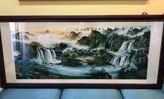 旭日東昇畫作 收藏品 藝術品 當初購買是捲軸 有特地裱框 畫(九成新)含運費