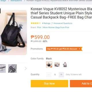 Anti theft nylon backpack